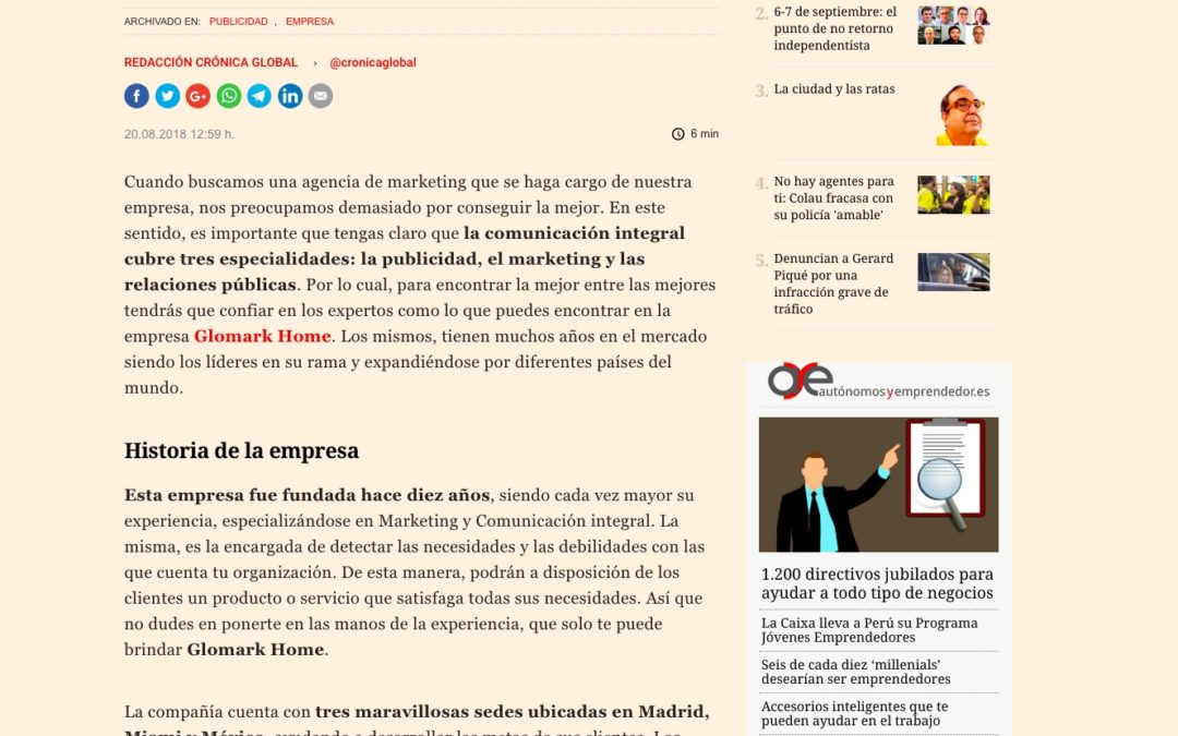 "Noticia en ""Crónica Business"""